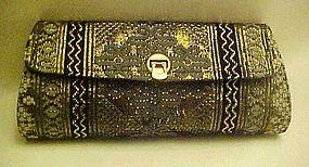 Vintage clutch purse black with metallic weave pattern