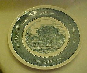 Currier and Ives large round chop plate Anchor Hocking