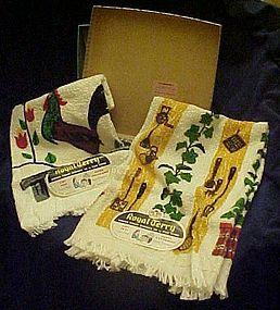 Vintage rooster kitchen towel set Mint 1959