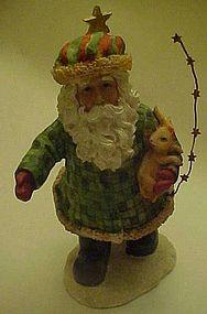 Lindy Bowman Santa and rabbit resin figurine