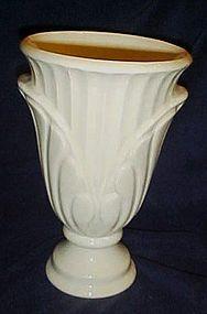 "Large vintage white pottery vase 9 3/4"""