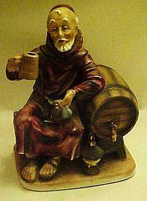 Hand painted Monk drinking wine, keg, figurine