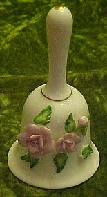 Pretty fine china bell with applied pink roses