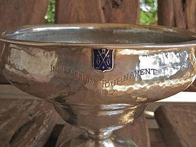 Large Hammered Sterling 1927 California Golf Trophy Sedlacek & Co. LA