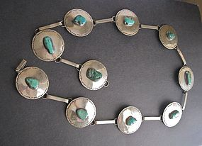 Vintage Silver Native American Concha Belt Unusual