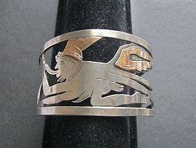Vintage Laffi Inspired Sterling 18K Large Cuff Bracelet