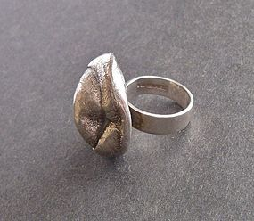 Vintage Modernist Isaac Cohen Sweden Ring Sterling