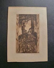 Heinrich Vogeler 1897 Signed Etching Art Nouveau