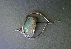 Vintage Organic Sterling Glass Brooch Pendant Zilka