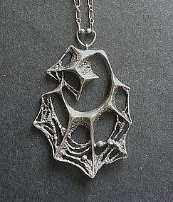 Vintage Sterling Modernist Finland Sten Laine Pendant Spiderweb