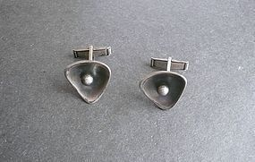 Vintage MCM Modernist Maxwell Chayat Sterling Silver Cuff Links