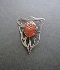 Vintage Arts and Crafts Carved Carnelian Silver Brooch Signed ES