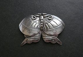 "William Spratling Silver Moth Brooch Pre Eagle 2 5/8"" Mexico"