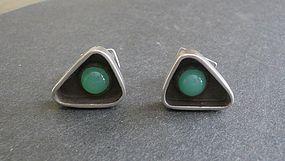 Vintage Modernist ED WIENER Sterling Green Stone Jade Cufflinks