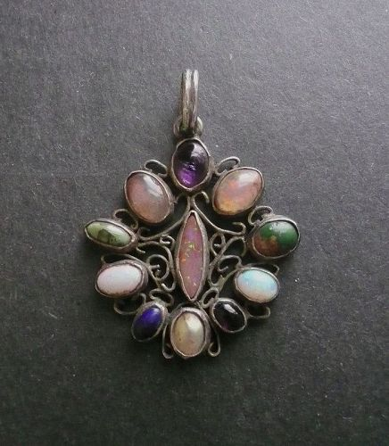 Vintage Silver Multi Gemstone Pendant Arts & Crafts Opals