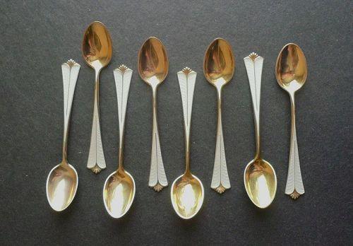 David Andersen Sterling Gilt Enamel Demitasse Spoons Set of Eight