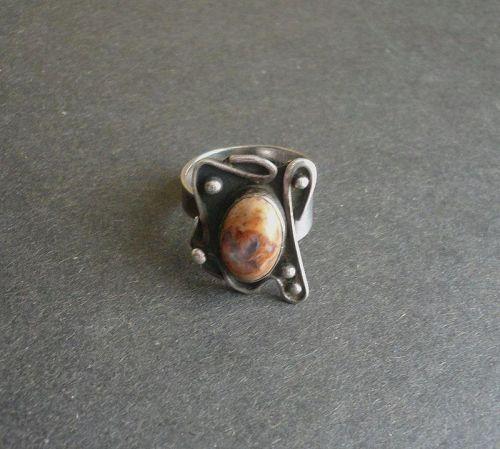 Paul Miller Opal Sterling Adjustable Ring Vintage Mid Century