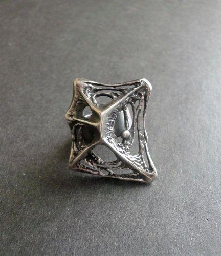 Sten & Laine Finland Sterling Modernist Ring Spider Web Adjustable