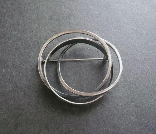 Bill Tendler Sterling Modernist Intertwined Circles Brooch