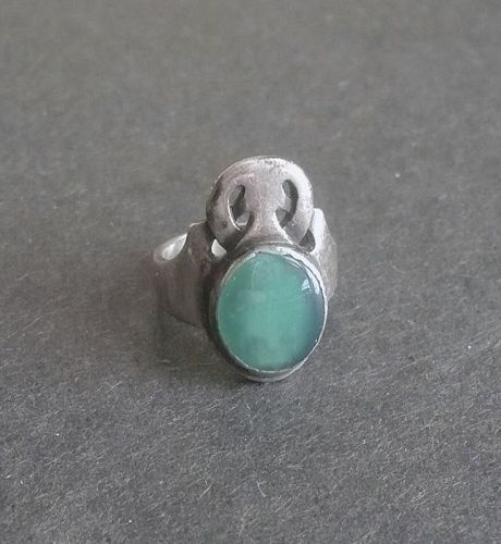 Rare Carence Crafters Sterling Ring Gemstone Chicago Arts Crafts