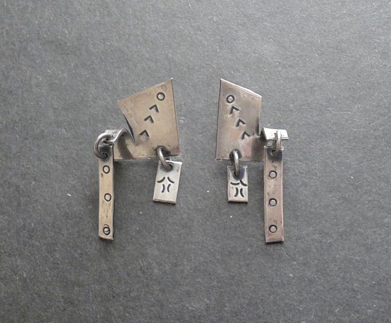 Sam Kramer Modernist Sterling Silver Abstract Earrings Dangles