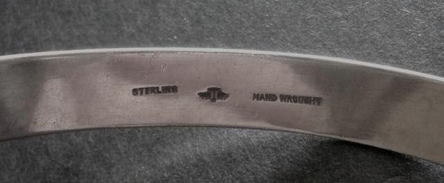 Vintage Gaylord Silvercraft Hammered Sterling Bangle Bracelet Signed