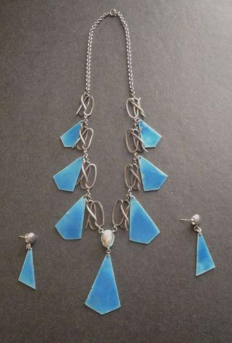 Vintage Modernist Sterling Enamel & Pearl Necklace Earrings Carlisle