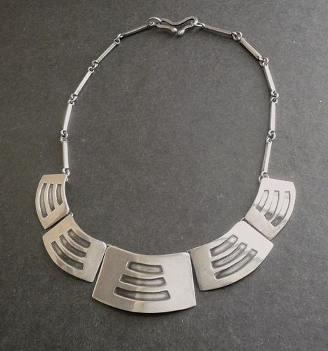 Sterling Modernist Layered Shied Necklace Handmade Vintage Mexican