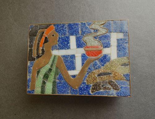 Modernist Salvador Teran Box Brass Tile Servant Steaming Bowl Signed