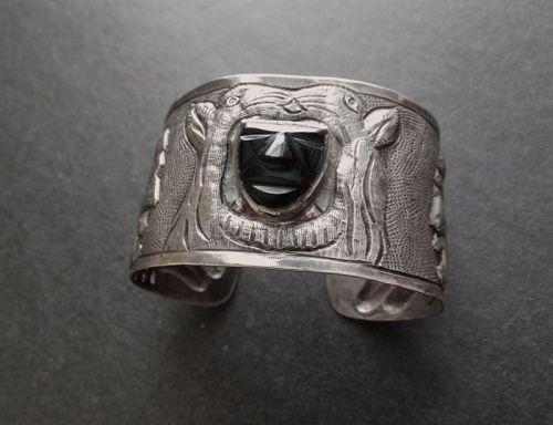 Vintage Mexico Silver Repousse Cuff Onyx Mask MATL Style Bracelet