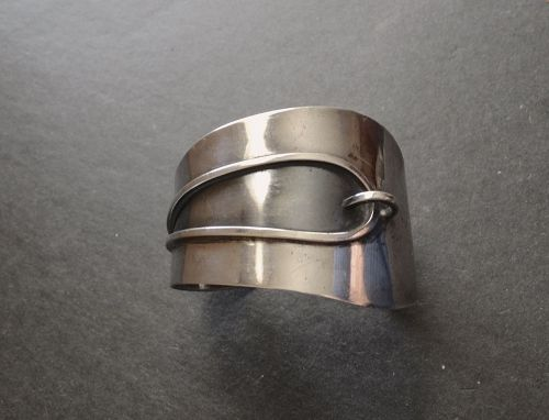 Modernist Cuff Bracelet Sterling Mid Century Signed silversmith Cone
