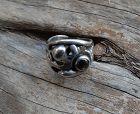 Vintage Modernist Maxwell Chayat Sterling Ring Gemstone Organic Size 7
