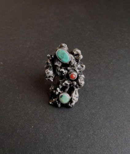 Vintage Modernist Brutalist Sterling Ring Coral Turquoise SZ 10.5