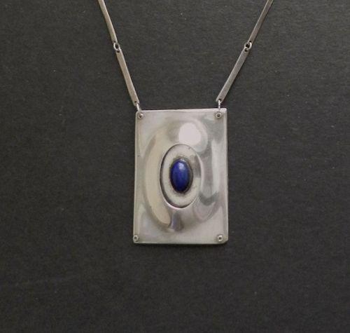 Sterling Hand Made Modernist Pendant Necklace 3D Lapis Cabochon