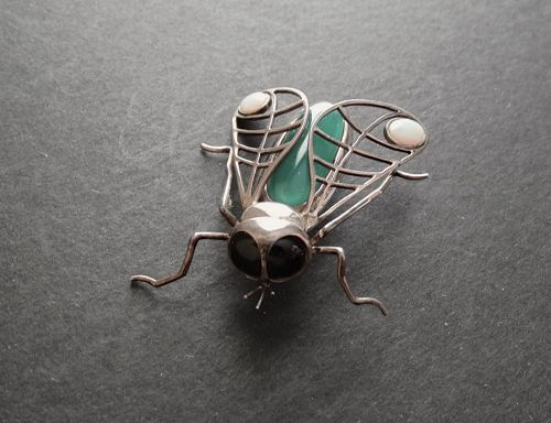 Vintage Sterling Gemstone Insect Brooch Original Box Signed Opals Bug