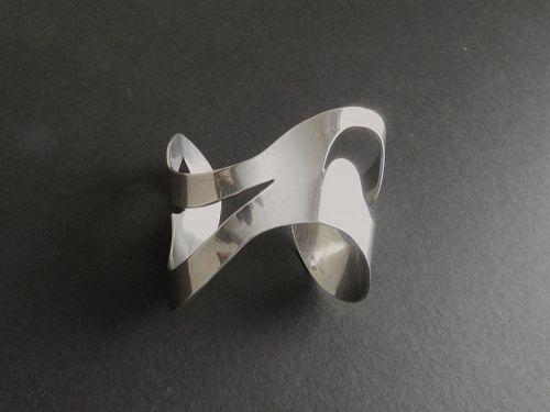 Charles H Cole Modernist HandMade Sterling Bracelet Cuff Face Hallmark