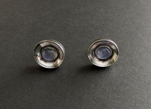 Modernist Antonio Pineda Taxco Sterling 970 Cufflinks Moonstones