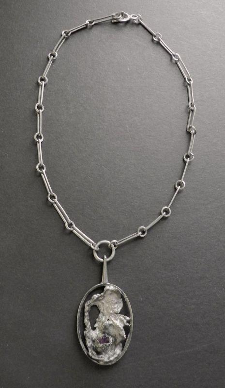 Denmark Pewter Amethyst Lysgards Modernist Pendant Necklace Brutalist