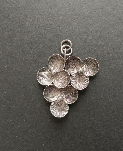 Elis Kauppi Kupittaan Kulta Modernist Sterling Pendant Finland Floral
