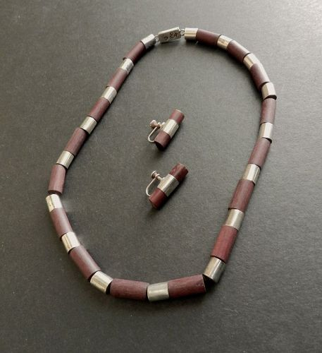 Rare Spratling Taxco Sterling & Rosewood Tube Necklace & Earrings WS