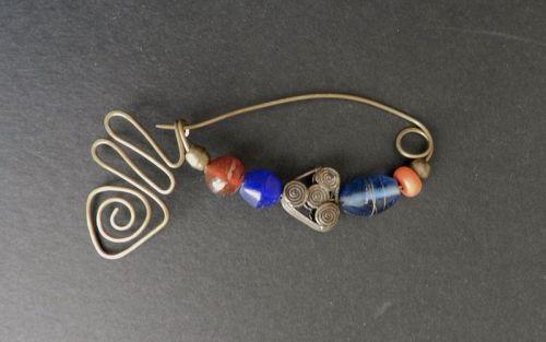 Vintage HandCrafted Fibula Brooch Hammered Brass Trade Beads Modernist