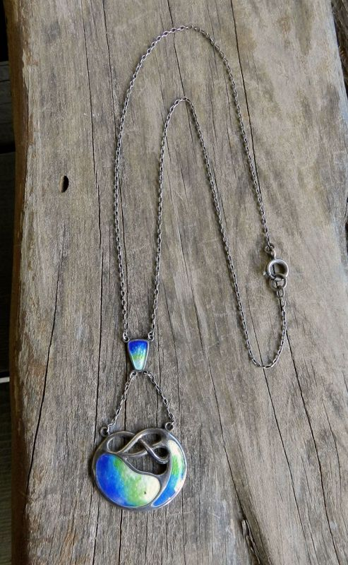 Vintage Sterling Silver Enamel Necklace Arts and Crafts Lavalier Blue