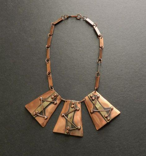 Winifred Mason Chenet d'Haiti Mixed Metals Modernist Pendant Necklace