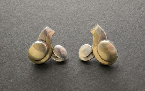 Rare Spratling Taxco Sterling Vermeil Lengua Earrings WS Script Mark