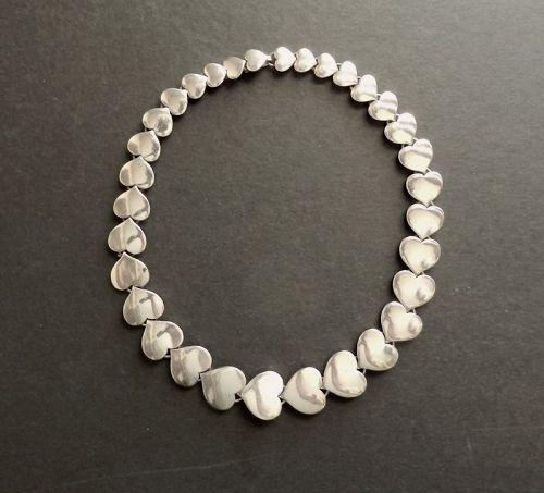 """Hans Hansen Modernist Sterling Heart Necklace Karl Gustav 18"""" 113 Gr"""