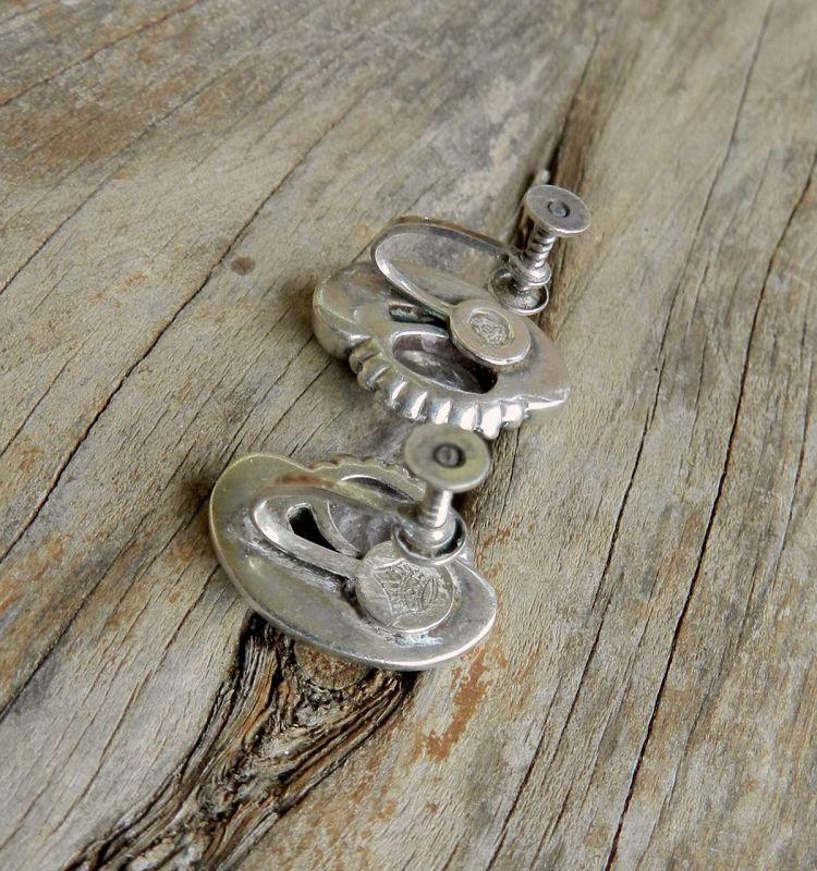 Modernist Antonio Pineda Taxco Sterling Earrings Moonstones Eagle 17