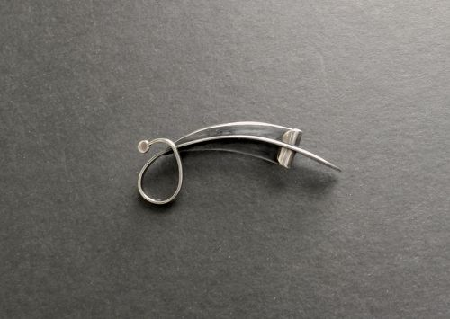 Paul Lobel Sterling MCM Modernist Brooch Wire Overlay Signed Classic