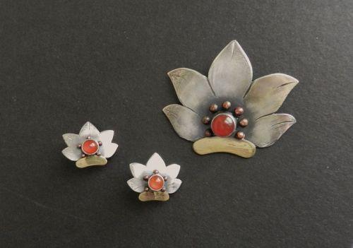 Rare Loyola Fourtane Pin & Earrings Sterling Carnelian Copper HandMade