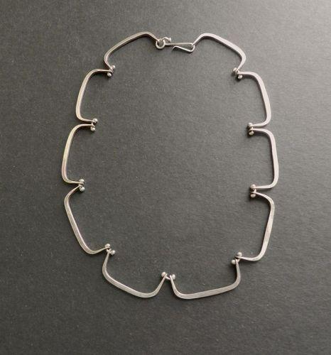 Gerald Stinn Vintage Modernist Sterling Hand Wrought Necklace Choker