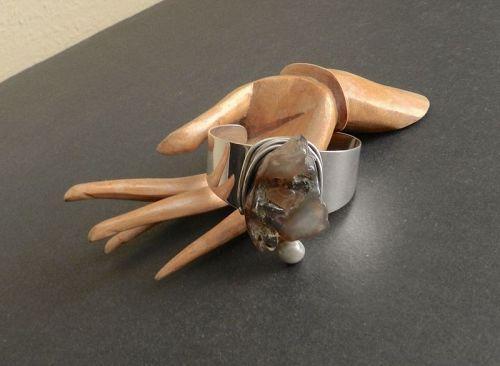 Rebajes Sterling Modernist Cuff Bracelet Hand Wrought Pearl Raw Stone